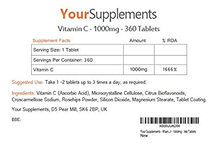 Your Supplements - Vitamina C & Rosa Mosqueta - 360 Tabletas (1000mg): Amazon.es: Salud y cuidado personal