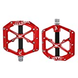 "Mzyrh Mountain Bike Pedals Non-Slip Alloy Flat Pedals 9/16"" 3 Bearing for Road"
