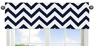 Navy Blue and White Chevron Collection Zig Zag Window Valance by Sweet Jojo Designs that we recomend personally.
