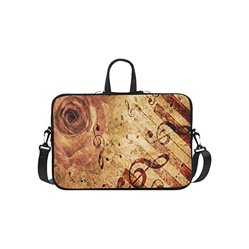 Vintage Grunge Rose and Music Note Pattern Briefcase Laptop