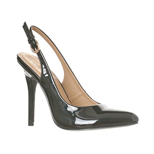 Riverberry Women's Lucy Pointed-Toe, Sling Back Pump Stiletto Heels, Black Patent, 6