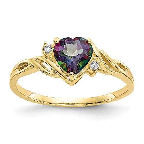 Bonyak Jewelry 10k Heart Mystic Fire Topaz & .01ct Diamond Ring in 10k Yellow Gold - Size ()