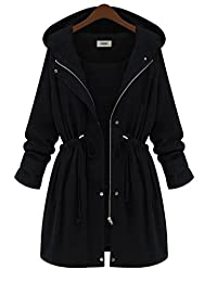 YH Women's Long Hooded Trench Coat Plus Size Winter Jackets