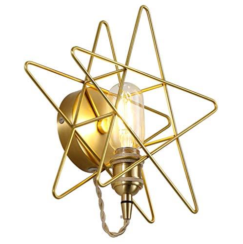 Modern Wall Lamp Brass Five-Pronged Star Bar Restaurant Corridor Bedroom Bedside Wall Gold Light Bulb with Light Source 26 25 10Cm (Brass)