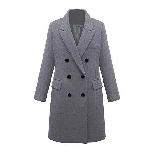 LISTHA Trench Jacket Plus Size Women Winter Lapel Wool Coat Long Parka Overcoat ()