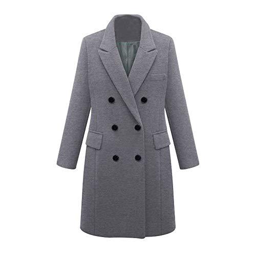 Fabal Womens Winter Lapel Wool Coat Double-breaste Trench Jacket Large-Size Long Woolen Coat (Charex Wool Coat)