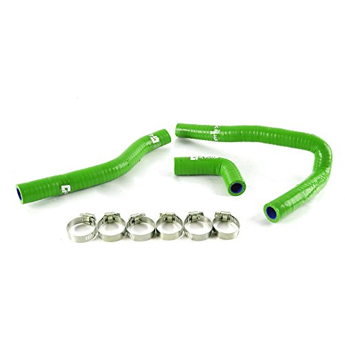 Silicone Radiator Coolant Hose Kit Clamps For Kawasaki KX65 2001-2013 Green