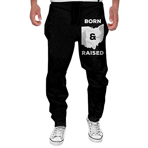 Ohio Drawstring Sweatpants - Men Ohio Born And Raised State Casual Cotton Jogger Pants,Workout Beam Trousers