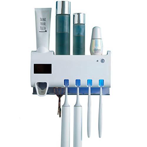Odziezet Toothbrush Holder with Toothpaste Dispenser Wall Mounted, UV Toothbrush Holder with Automatic Toothpaste Squeezer, 4 Toothbrush Holder