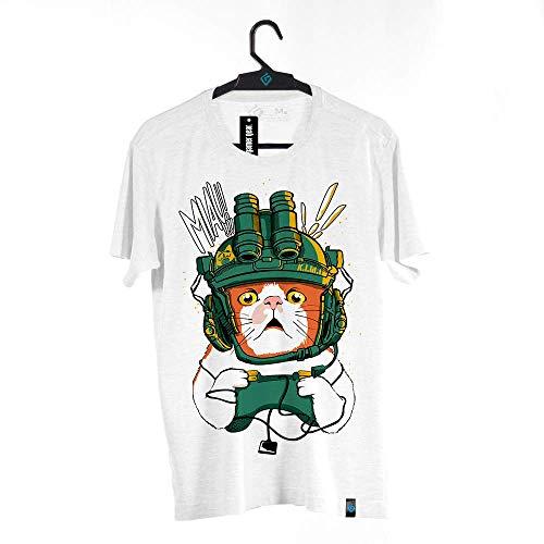Camiseta Gato Gamer, BRKsEdu, Adulto Unissex, Branco, P