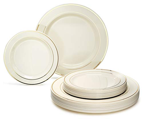 """"""" OCCASIONS"""" 50 piece (25 guest) Disposable Dinnerware Set - Wedding Plastic Plates for 25 guests - (25 x 10.5"""