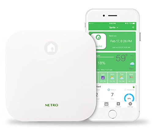Netro Sprite-6-INT Smart Sprinkler Controller, WiFi, Weather Aware, Remote Access, Power Adapter NOT Included, Compatible with Alexa