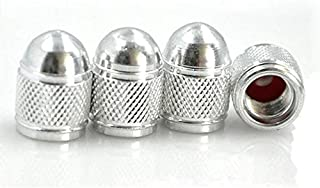 (SILVER)4Pcs/Lot Universal Aluminum Car Tyre Air Valve Caps, Bicycle Tire Valve Cap, Car Wheel Styling Round