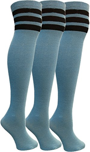 Yacht&Smith Womens Over the Knee Socks, 3 Pairs Premium Soft, Cotton Colorful Patterned (3 Pairs Copper Blue)