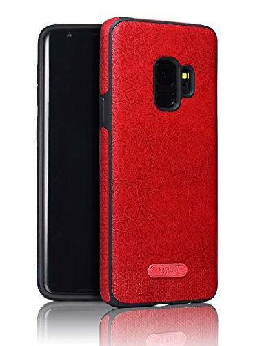 Samsung Galaxy S9 Case SunRemex Luxury Leather Grain with Full Body Protective and Anti-Scratch and Non-Slip Design Design for Samsung Galaxy S9(2018) (Dark Red) Red Luxury Leather