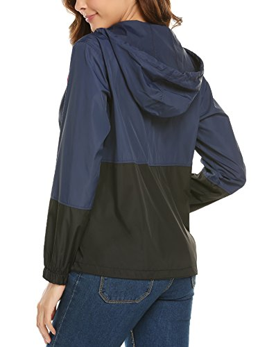 Chaqueta zhenwei con Impermeable Ligera para Exterior Mujer Capucha Deportiva Negro Mujer Azul para Chaqueta 1HSqZ