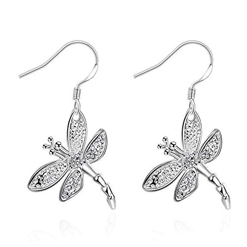 Dolland Women's Silver Plated Filigree Butterfly Drop Dangle Hook Earrings (Dragonfly)