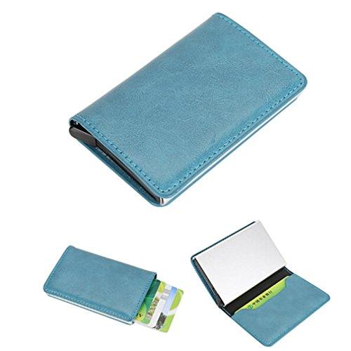 Titular de la tarjeta, Morwind Hombres Mujeres de cuero de aleación de identificación de la tarjeta de crédito Protector Holder Monedero Monedero Azul