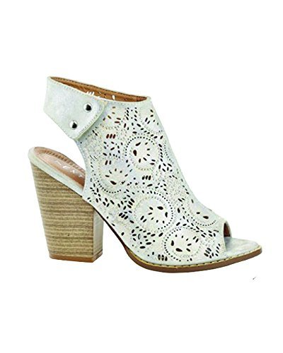 Eddie Marc Womens Laser Cut Design And Cut Out Bootie  Silver  10 W Us