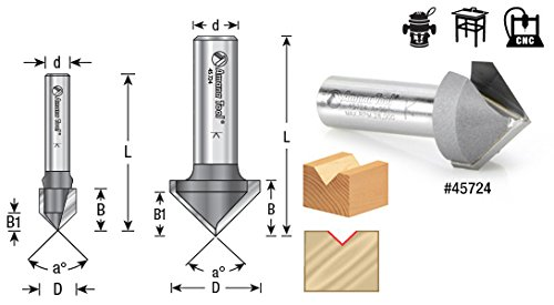 Amana Tool 45700 V Groove 2-Flute Carbide Tipped Router Bit, 1/4-Inch Shank