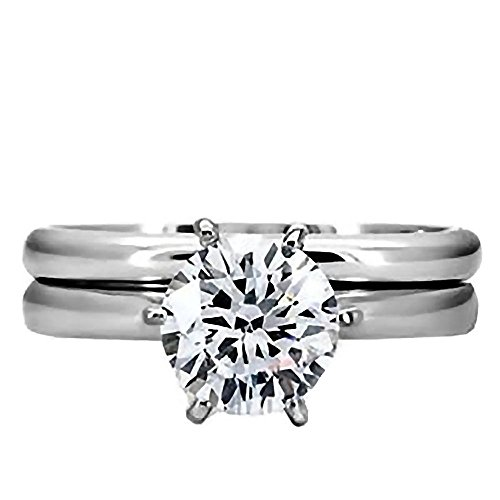 1000 Jewels Trustmark Steel 1.25ct Brilliant-Cut Ice on Fire CZ 2 pc Bridal Wedding Ring Set, Bella 3144 sz 8.0 ()