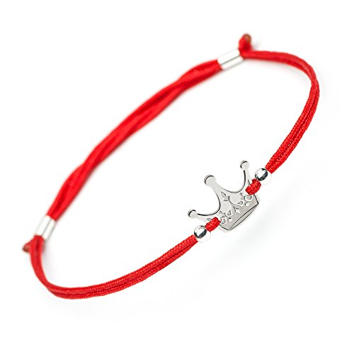 Red Charm Plated - Handmade Lucky Silver Crown Bracelet - 925 Sterling Silver Crown Charm Pendant - Inspirational Good Luck Friendship Protection Red Rope Evil Eye Love Gift Bracelets for Girls Boys Women Men Kids