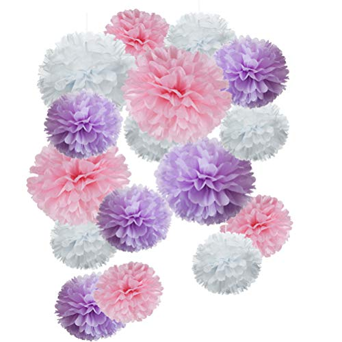 Paper Flower Tissue Pom Poms Baby Shower Party Favors (pink,purple,white,18pc)]()