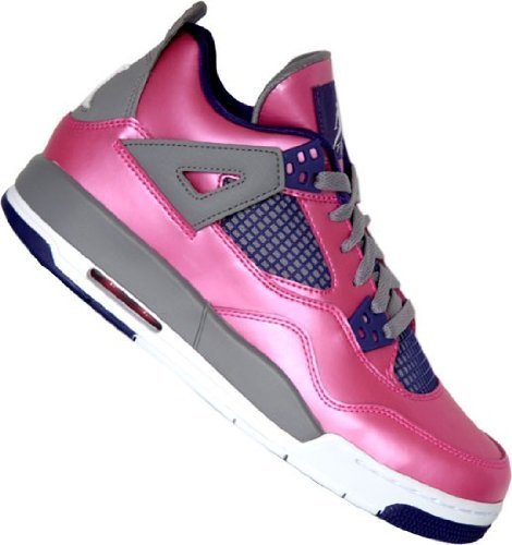Nike Girls Air Jordan 4 Retro Pink Foil /Cement Grey/Electro Purple/White 487724-607 (SIZE: 6Y) (White Iv Jordan Cement)