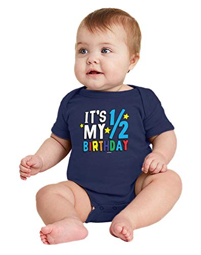 HAASE UNLIMITED It's My 1/2 Birthday - Half 6 Months Old Bodysuit (Navy Blue, 12 Months) (Brothers Name Property Last)