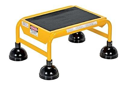 Vestil LAD-1-Y Escalera enrollable de acero con resorte, 16 pulgadas de ancho x 11 pulgadas de profundidad, 300 libras Capacidad, 1 escalón de goma, color amarillo: Amazon.es: Amazon.es
