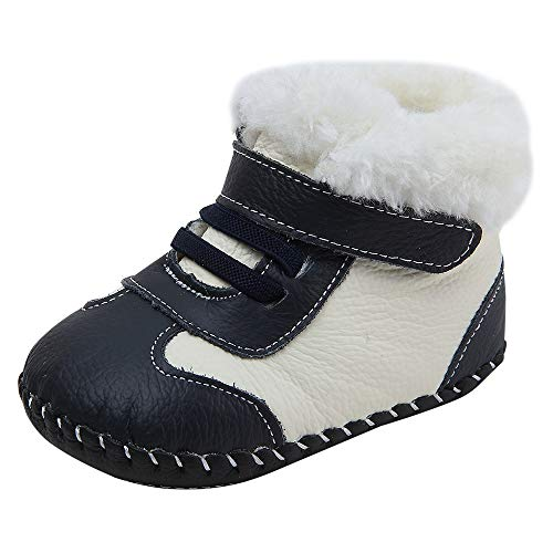 (Baby Genuine Leather Winter Warm Snow Boots Soft Bottom Non-Slip Shoes for Boys Girls 0-18Months (13.5cm(18-24months), Navy))