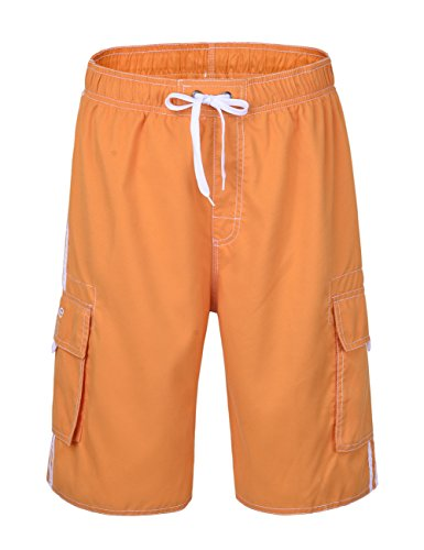 NONWE Men's Beachwear Board Shorts Quick Dry with Mesh Lining Swim Trunks Orange 34 by Nonwe