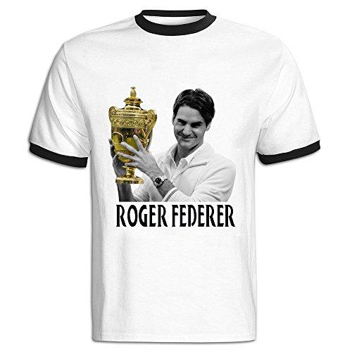 CHALZ Men's Grand Slam Roger Federer Logo Short Sleeve Tees XXL Black Iwc Grande