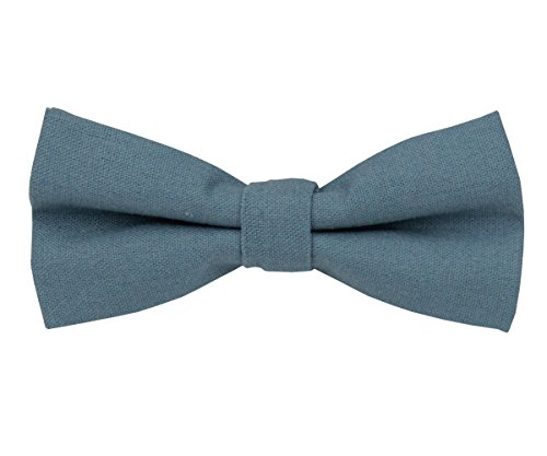 Mens Charm Solid Linen Bowtie - Various Colors (Dusty Blue)