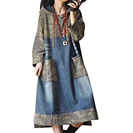 Women Long Casual Denim Dress Hooded Pullover Jacket
