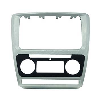 feeldo plateado radio de coche marco embellecedor marco de Refitting Panel adaptador para radio de coche