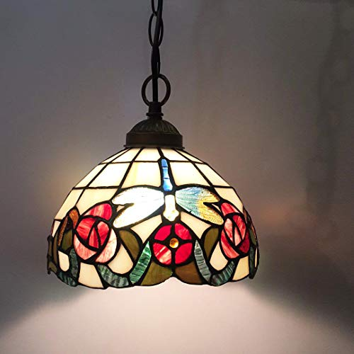 Tiffany Chandelier,Diameter: 8 inches (20CM),Stained Glass Enamel Pattern Chandelier,Stained Glass Chandelier Balcony, Study, Dining Room, Aisle, Ceiling - Enamel Chandelier