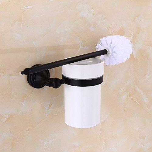 HYP Black copper bronze brush set antique hotel bathroom toilet brush retro toilet brush holder ceramic cup