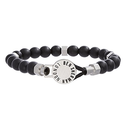 - Ben Sherman Men's Stainless Steel Rondelle and Black Stone Beaded Bracelet with Disc Closure
