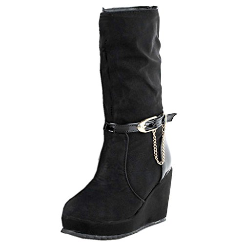 Boots On Wedge Pull Women Comfort Calf Black Mid COOLCEPT Slouch tqI8T