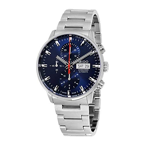 Mido Commander II Silver / Blue Stainless Steel Automatic Analog Men's Watch M016.414.11.041.00