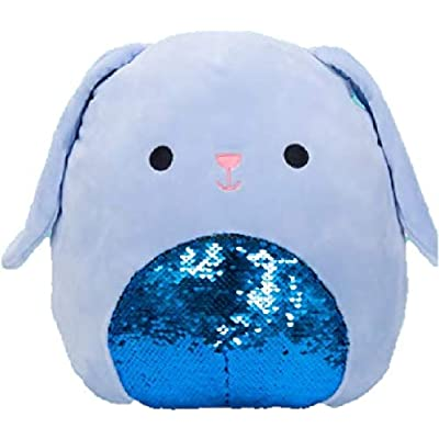 "Squishmallow Kellytoy Easter 8"" Buttons Blue Bunny Flip Sequin Plush Doll: Toys & Games"