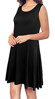 Anniblue Women's Sleeveless Casual Swing T-shirt Dresses