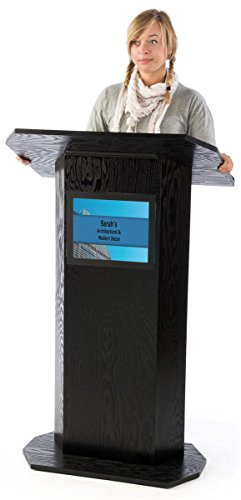 Portable Podium for Floor, with Shelf, 49'' Tall, 30'' Wide, 8.5'' x 11'' Sign Holder, Wood by Displays2go (Image #2)