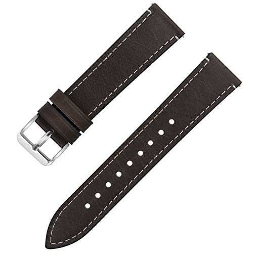 Quick Release Leather Watch Band, Fullmosa 6 Colors Wax Oil 14mm 16mm 18mm 20mm 22mm 24mm Leather Watch Strap,24mm Grey+Silver Buckle-QR ()