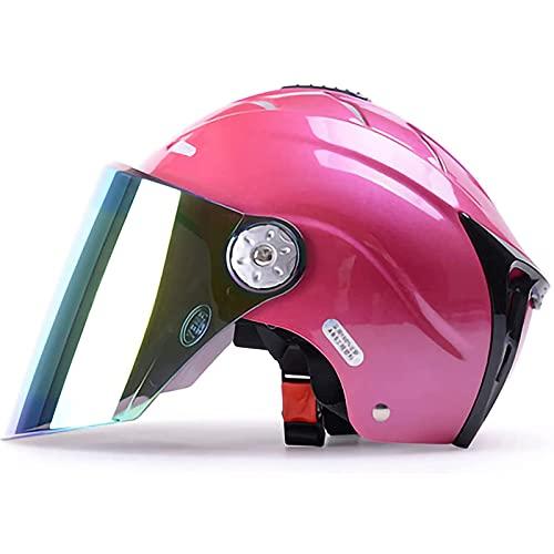 Klappbarer Helm Offener Motorradhelm DOT/ECE-Geprüfter Motorrad-Scooter-Crashhelm Mit Visier Retro Vintage Jet-Helm Im…