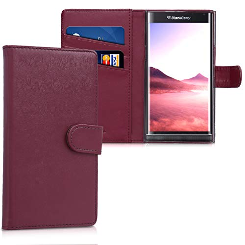 Wine Make Blackberry (kwmobile Wallet Case for Blackberry Priv - Protective PU Leather Flip Cover with Magnetic Closure, Card Slots and Kickstand)
