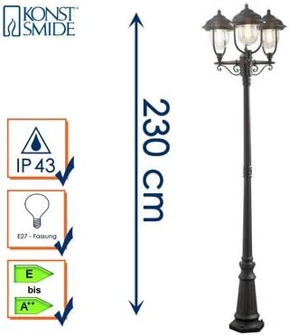 Konstsmide Parma 7227-750 Standleuchte / B: 60cm T: 60cm H: 218cm / 3x75W / IP43 / lackiertes Aluminium / matt-schwarz