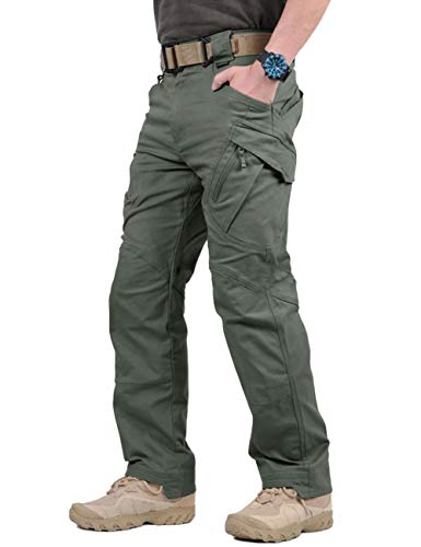 (TACVASEN Men's Tactical Urban Ops Tactical Pants Climbing Hiking Hunting Cargo Pants Trousers Gray Green,32)