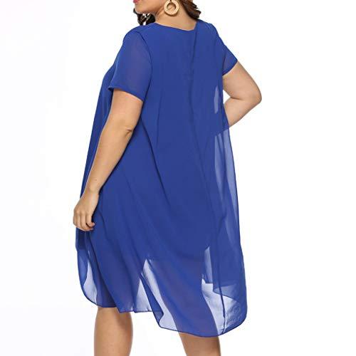 HYIRI Solid O-Neck Superhero Chiffon Asymmetrical Dress for Women Blue ()